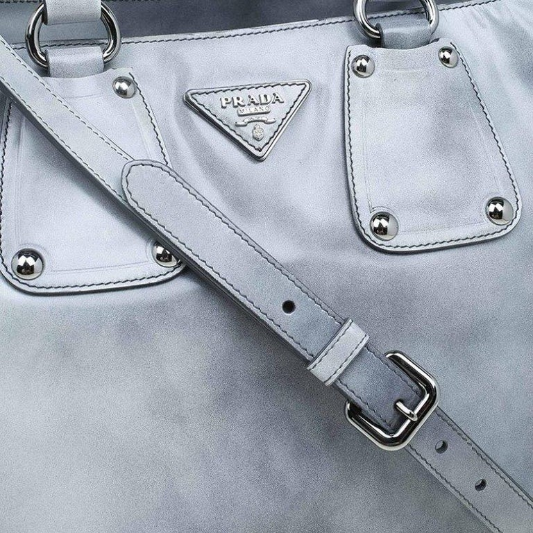 Prada Grey Spazzolato Leather Shopping Tote For Sale 4