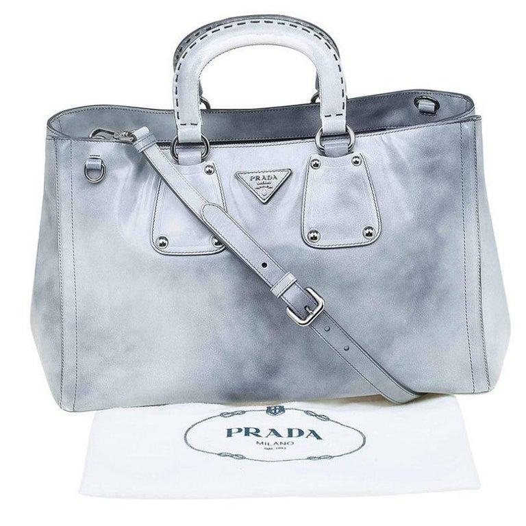 Prada Grey Spazzolato Leather Shopping Tote For Sale 5