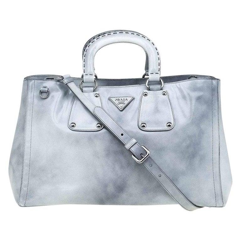 Prada Grey Spazzolato Leather Shopping Tote For Sale