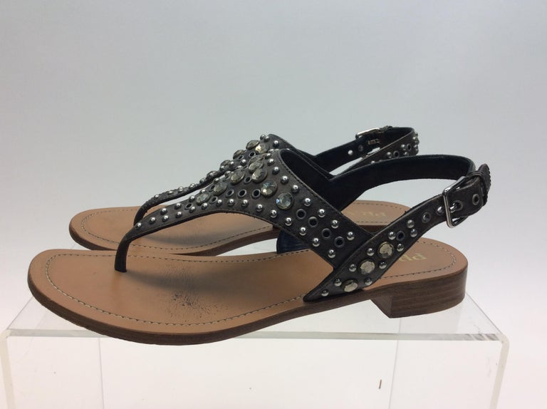 Prada Grey Studded Sandals $108 Made in Italy Size 37