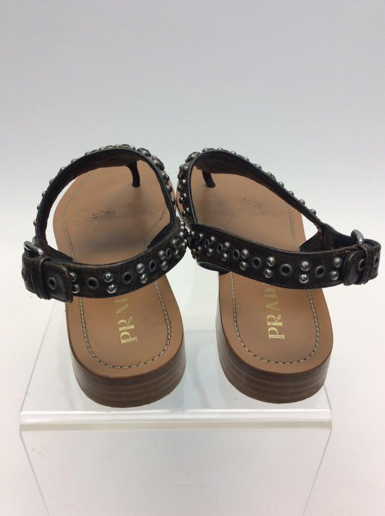 Brown Prada Grey Studded Sandals For Sale