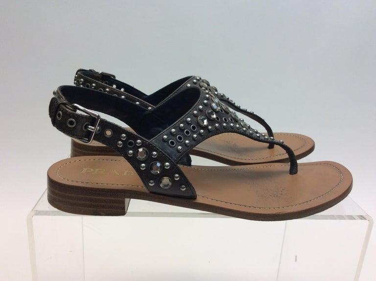 Prada Grey Studded Sandals In Good Condition For Sale In Narberth, PA