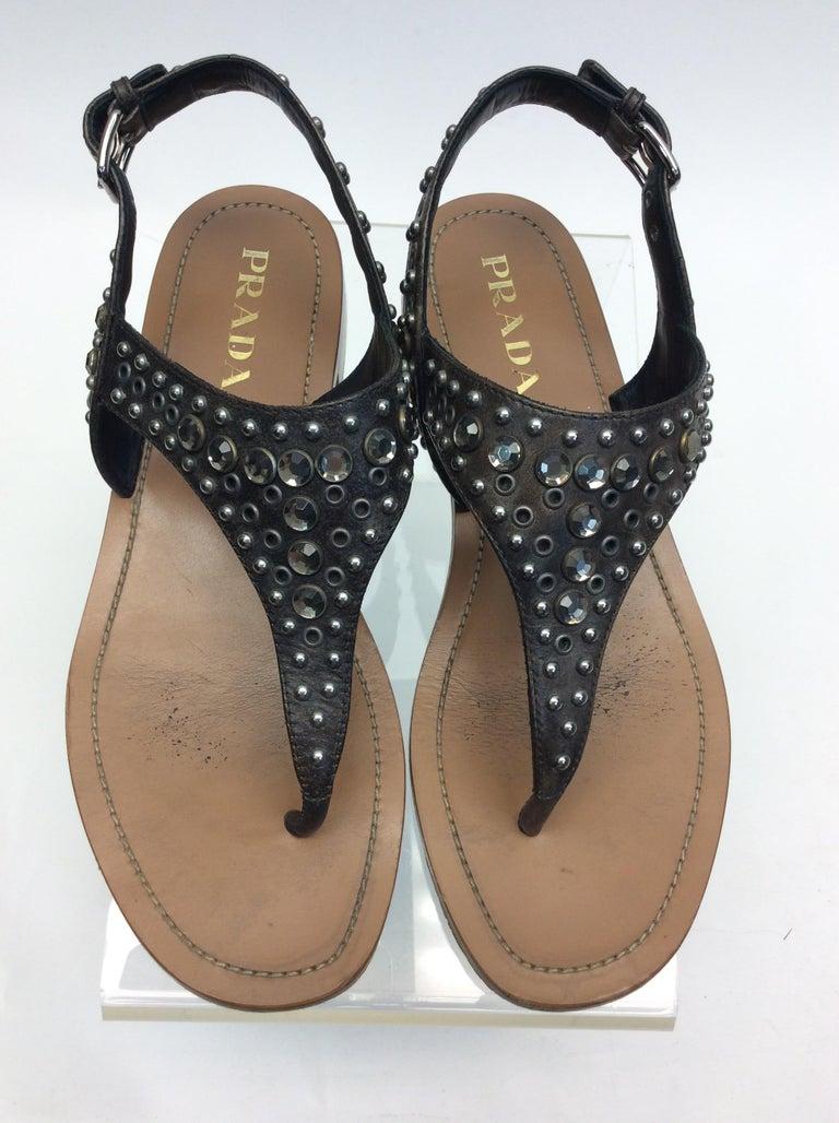 Women's Prada Grey Studded Sandals For Sale