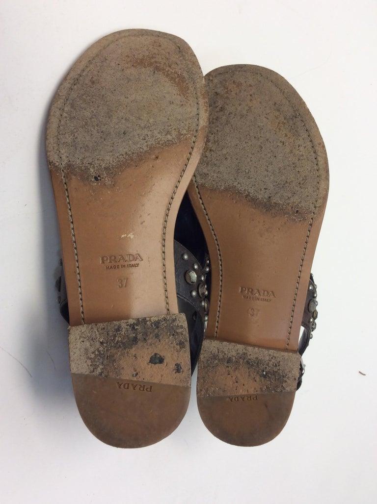 Prada Grey Studded Sandals For Sale 2