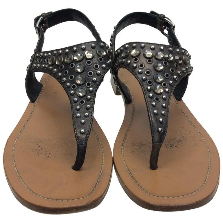 Prada Grey Studded Sandals For Sale