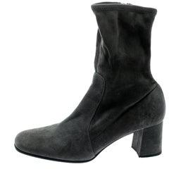 Prada Grey Suede Block Heel Ankle Boots Size 39