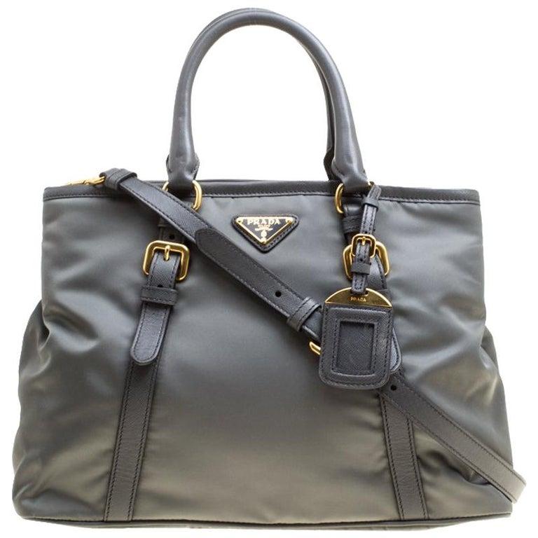 Prada Grey Tessuto Saffiano Top Handle Bag at 1stdibs 3ded5bf47a8bf