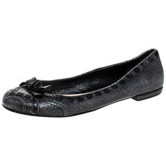 Prada Grey Textured Leather Bow Ballet Flats Size 39.5
