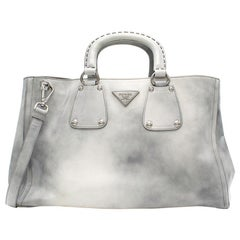 Prada grey tie dye patent leather tote bag