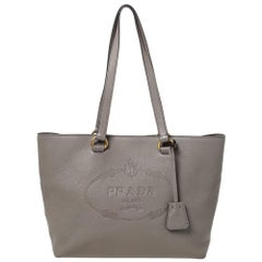 Prada Grey Vitello Daino Leather Logo Embossed Tote
