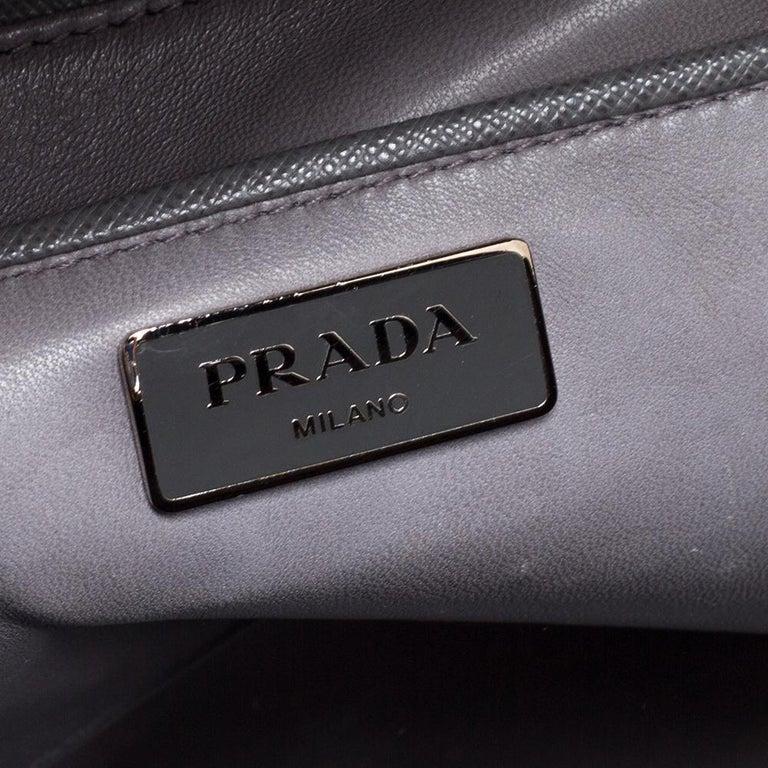Prada Grey/White Saffiano Lux Leather Pyramid Frame Satchel For Sale 5