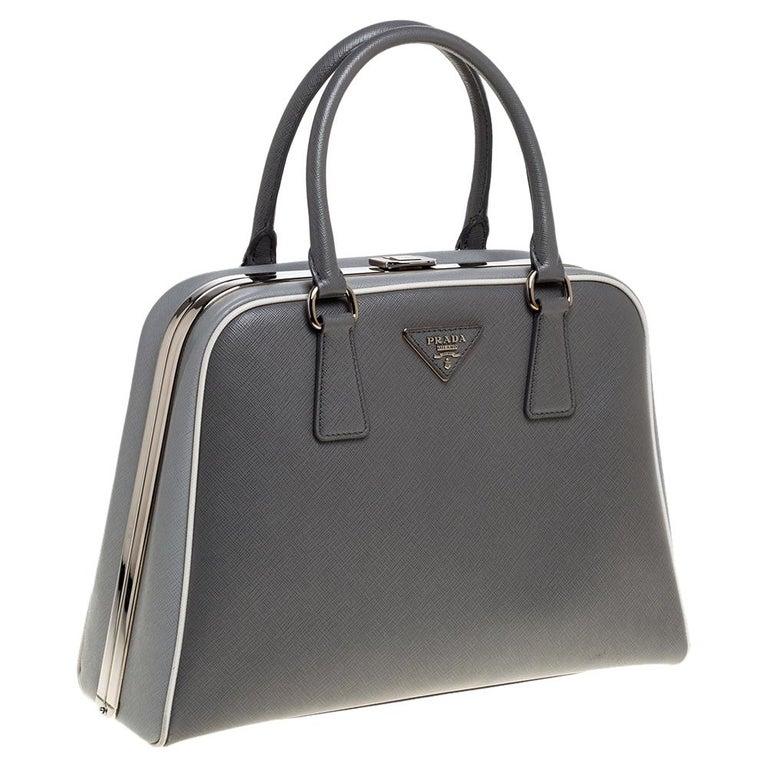 Prada Grey/White Saffiano Lux Leather Pyramid Frame Satchel In Good Condition For Sale In Dubai, Al Qouz 2