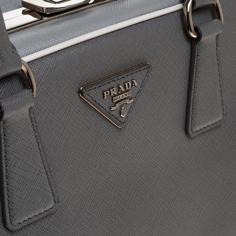 Prada Grey/White Saffiano Lux Leather Pyramid Frame Satchel For Sale 1