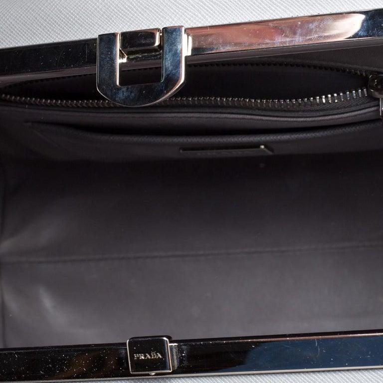 Prada Grey/White Saffiano Lux Leather Pyramid Frame Satchel For Sale 2
