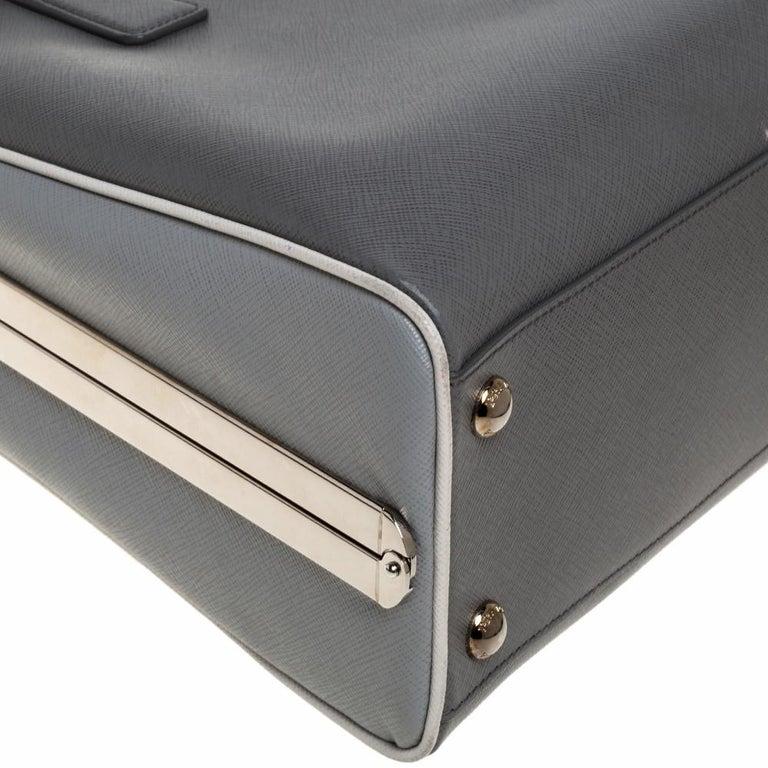 Prada Grey/White Saffiano Lux Leather Pyramid Frame Satchel For Sale 3