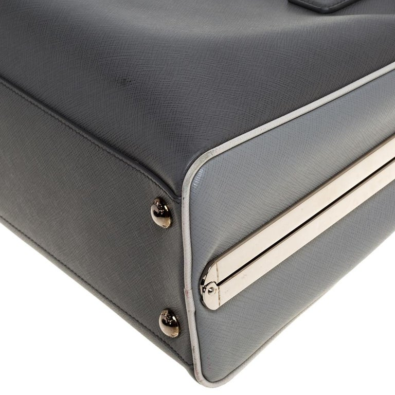 Prada Grey/White Saffiano Lux Leather Pyramid Frame Satchel For Sale 4