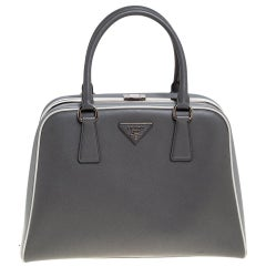 Prada Grey/White Saffiano Lux Leather Pyramid Frame Satchel