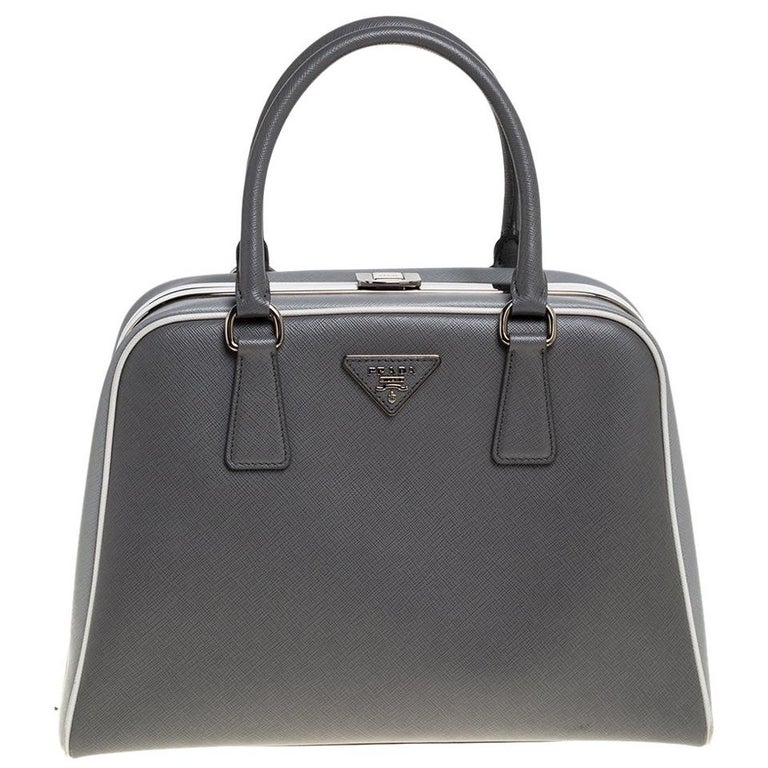 Prada Grey/White Saffiano Lux Leather Pyramid Frame Satchel For Sale