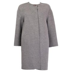 PRADA grey wool angora cashgora COLLARLESS COCOON Coat Jacket 40 S