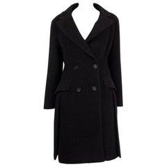 PRADA grey wool & angora Double Breasted Coat Jacket 44 L