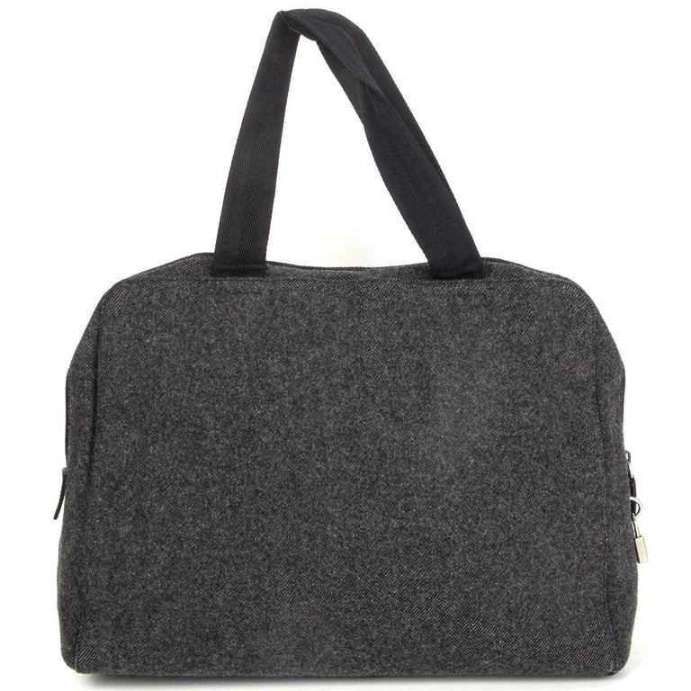 Black PRADA grey wool Double Handle Bag For Sale
