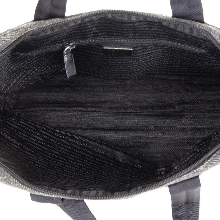 Women's PRADA grey wool Double Handle Bag For Sale