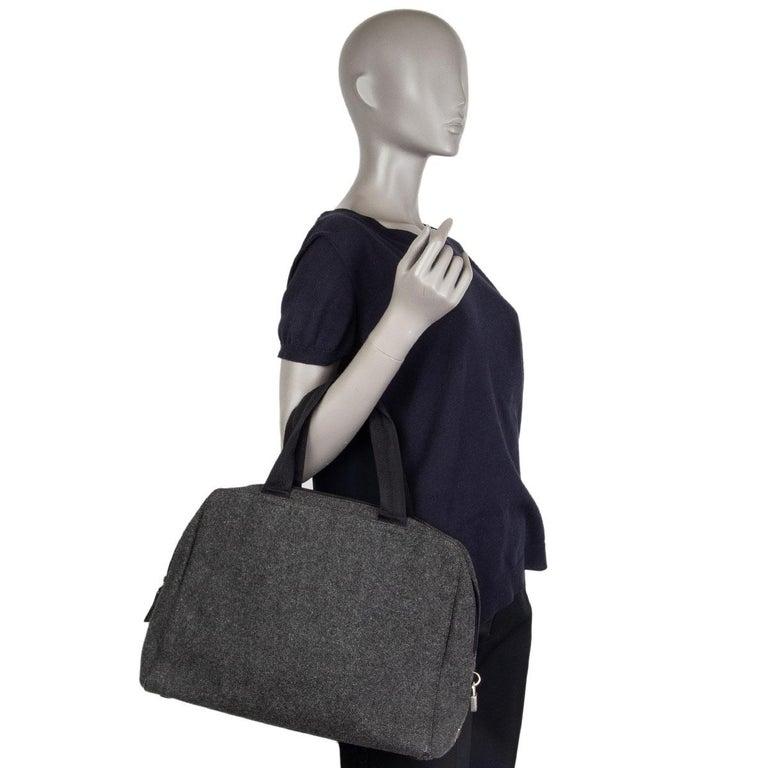 PRADA grey wool Double Handle Bag For Sale 2