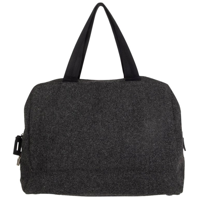 PRADA grey wool Double Handle Bag For Sale
