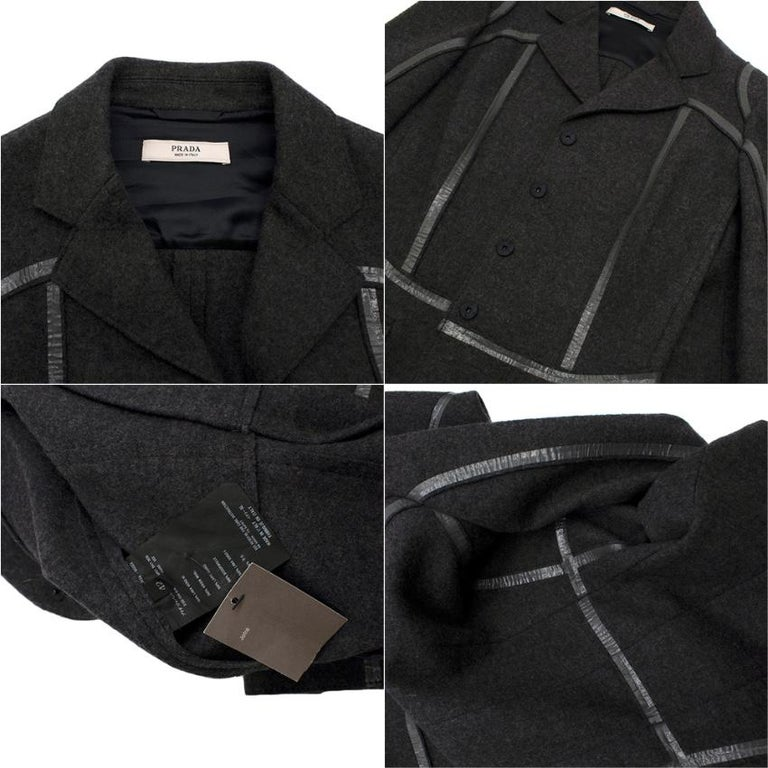 Prada Grey Wool Tailored Dress & Jacket - Size US 6 In Excellent Condition For Sale In London, GB