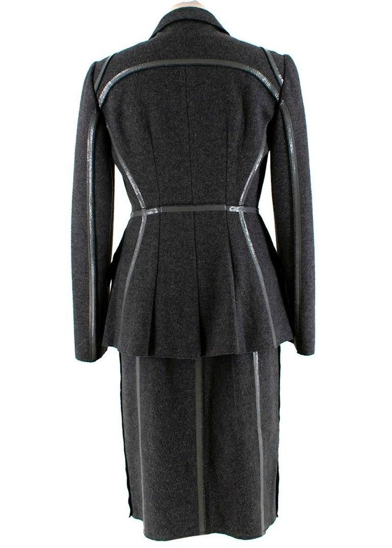 Prada Grey Wool Tailored Dress & Jacket - Size US 6 For Sale 3