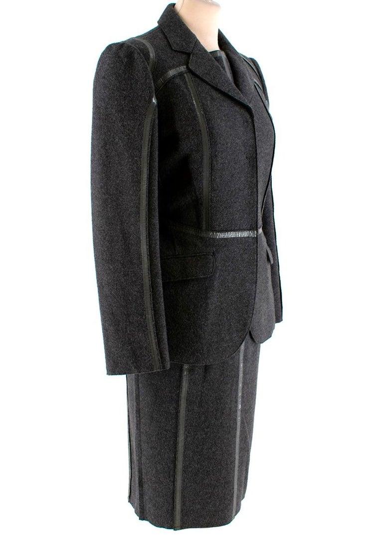 Prada Grey Wool Tailored Dress & Jacket - Size US 6 For Sale 4