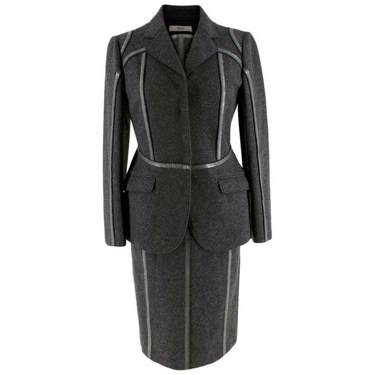 Prada Grey Wool Tailored Dress & Jacket - Size US 6 For Sale