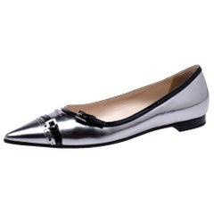 Prada Gunmetal/Black Patent Leather Buckle Detail Pointed Toe Flats Size 39