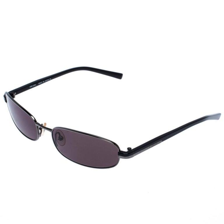 Gray Prada Gunmetal Tone/ Grey SPR 56E Rectangular Sunglasses