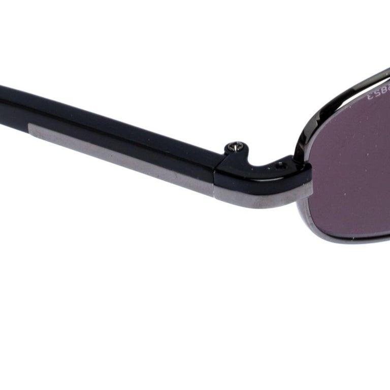 Prada Gunmetal Tone/ Grey SPR 56E Rectangular Sunglasses In Good Condition In Dubai, Al Qouz 2