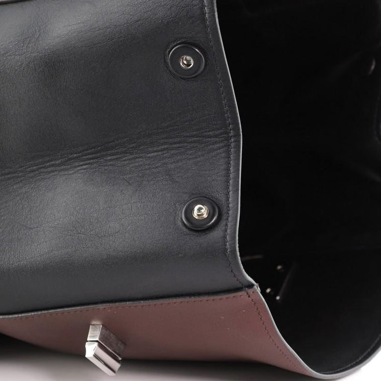 Prada Half Flap Double Turn Lock Satchel City Calfskin Large For Sale 6