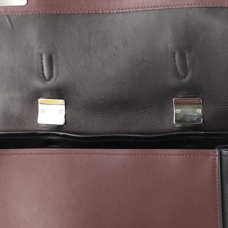 Prada Half Flap Double Turn Lock Satchel City Calfskin Large For Sale 4