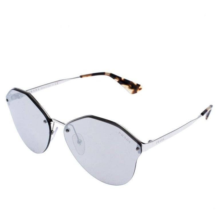 Prada Havana/ Silver Mirrored SPR 64T Cinema Evolution Geometric Sunglasses In New Condition For Sale In Dubai, Al Qouz 2