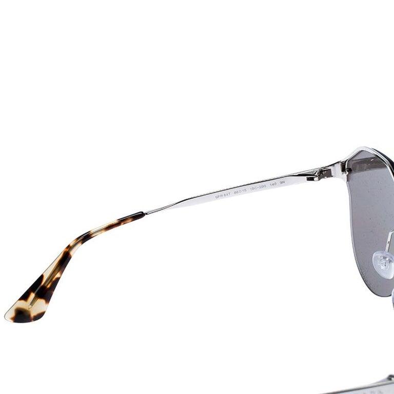 Women's Prada Havana/ Silver Mirrored SPR 64T Cinema Evolution Geometric Sunglasses For Sale