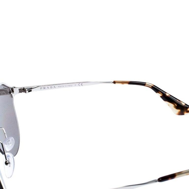 Prada Havana/ Silver Mirrored SPR 64T Cinema Evolution Geometric Sunglasses For Sale 1