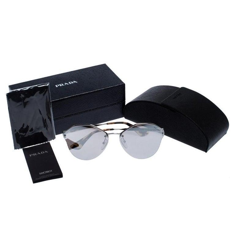 Prada Havana/ Silver Mirrored SPR 64T Cinema Evolution Geometric Sunglasses For Sale 3