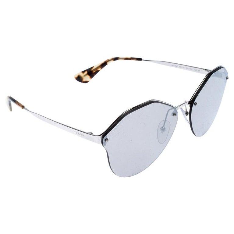 Prada Havana/ Silver Mirrored SPR 64T Cinema Evolution Geometric Sunglasses For Sale