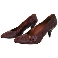 Prada Heels in Wild Crocodile Leather with Wood Sole. Size 39.5