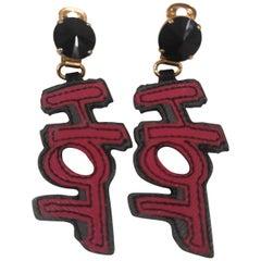 Prada Hot black swarovski and leather earrings