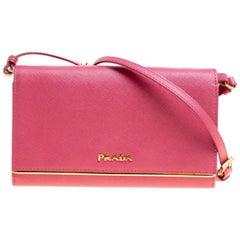 Prada Hot Pink Saffiano Leather Clutch Shouder Bag