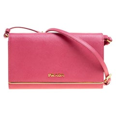 Prada Hot Pink Saffiano Leather Clutch Shoulder Bag