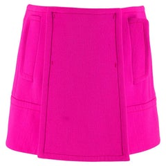 Prada Hot Pink Tailored Wool Wrap Front Mini Skirt 36