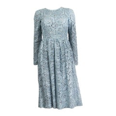 PRADA ice blue EMBROIDERED LACE Long Sleeve Dress 38