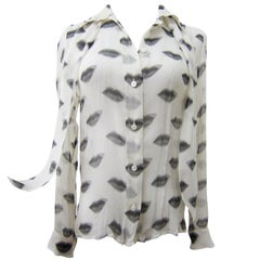Prada Iconic Lip Print Silk Blouse Top With Bow SS 2000