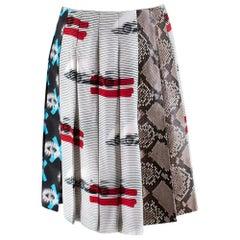 Prada Iconic Print and Python Print Runway Pleated Mini Skirt 40